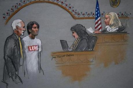 In this courtroom sketch, Khairullozhon Matanov appeared in federal court before a magistrate judge.